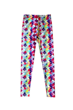 Terez Girl's Checker Stars Printed Leggings, Size 4-6X