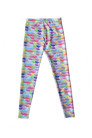 Terez Girl's Mermaid Scales Printed Leggings, Size 4-6X
