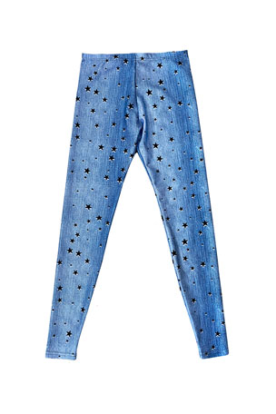 Terez Girl's Starry Denim Leggings, Size 4-6X
