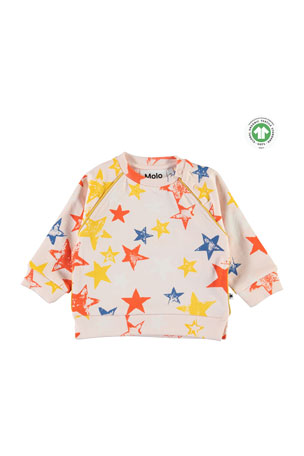 Molo Girl's Dicte Super Stars Printed Sweatshirt, Size 6-24 Months