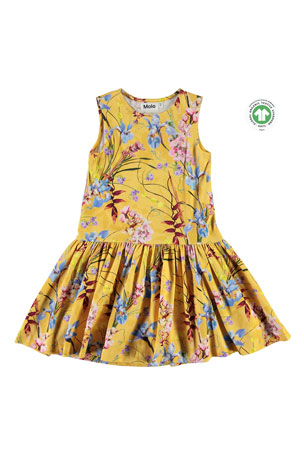 Molo Girl's Candece Floral Print Sleeveless Dress, Size 3T-12