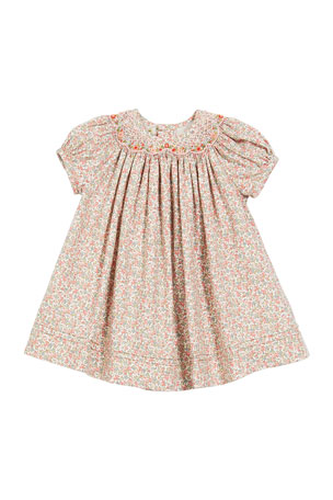 Luli & Me Floral-Print Smocked Bishop Dress, Size 6-24 Months
