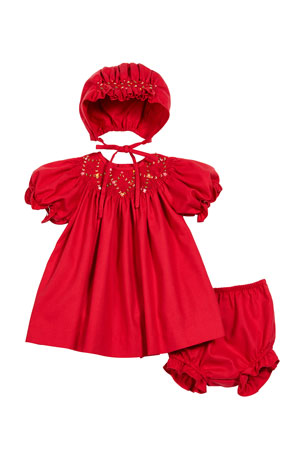 Luli & Me Smocked Bishop Dress w/ Matching Bonnet & Bloomers, Size 3-24 Months