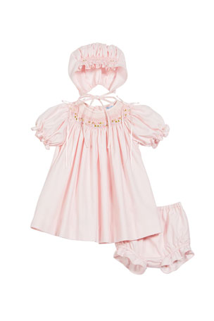 Luli & Me Smocked Bishop Dress w/ Matching Bonnet & Bloomers, Size Newborn-9 Months