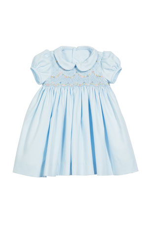Luli & Me Smocked Dress w/ Floral Embroidery, Size 6-24 Months