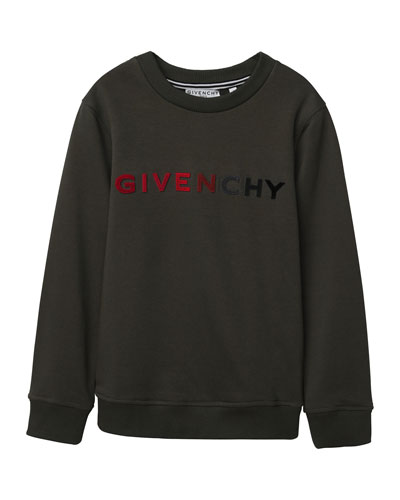 Givenchy Boy's Gradient Logo Embroidery Sweatshirt , Size 4-10