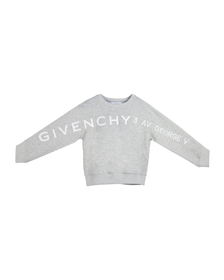 Image 2 of 2: Givenchy Girl's Logo Address Heathered Sweatshirt, Size 12-14