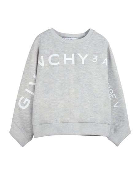 Image 1 of 2: Givenchy Girl's Logo Address Heathered Sweatshirt, Size 12-14