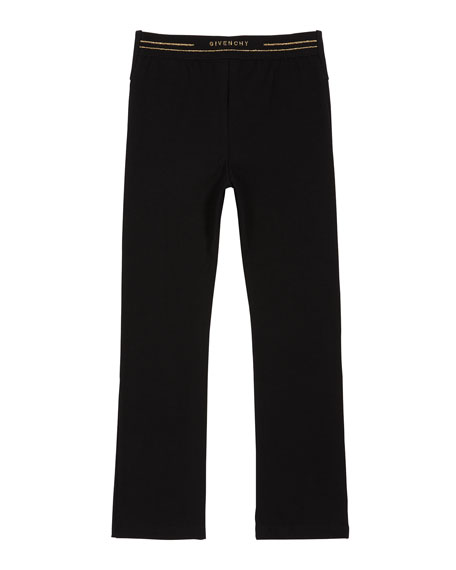 Image 2 of 2: Givenchy Girl's Button-Front Logo Back Jersey Leggings, Size 4-10