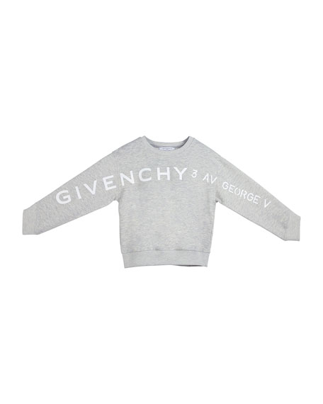 Image 2 of 2: Givenchy Girl's Logo Address Heathered Sweatshirt, Size 4-10