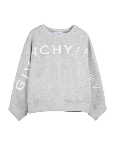 Image 1 of 2: Givenchy Girl's Logo Address Heathered Sweatshirt, Size 4-10