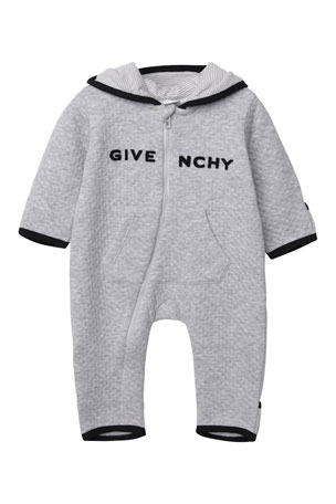 Givenchy Zip-Front Hooded Logo Coverall, Size 1-9 Months