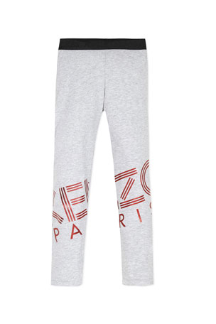 Kenzo Girl's Logo Stretch Cotton Leggings, Size 2-6
