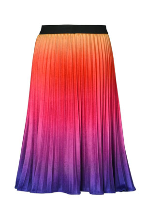 Hannah Banana Girl's Ombre Pleated Velvet Skirt, Size 7-14