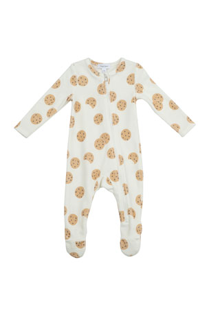 Angel Dear Kid's Cookie Printed Terry Zipper Footie Playsuit, Size Newborn-9M