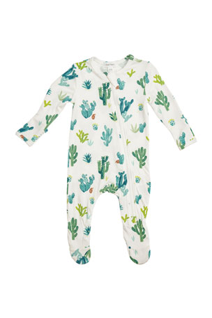 Angel Dear Kid's Cactus Ivory Zipper Footie Playsuit, Size Newborn-18 Months