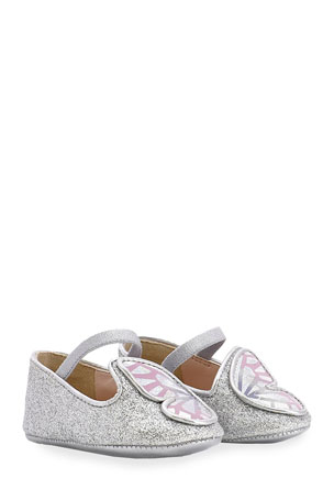 Sophia Webster Girl's Glitter Butterfly-Wing Flats, Baby Sizes 0-12 Months