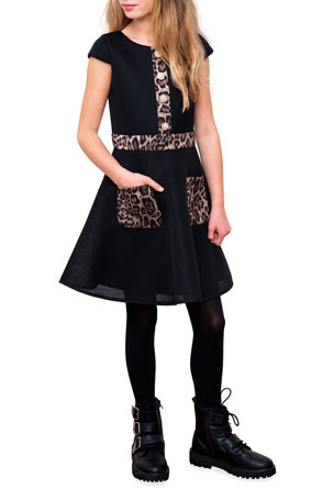 GIRLS WHITE BLACK SWIRL FLORAL PRINT MESH ZIP TRIM SKATER PARTY DRESS age 3-4