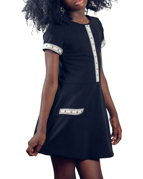 Image 2 of 2: Zoe Girl's Charley Metallic Racer Stripe Flounce Dress, Size 7-16