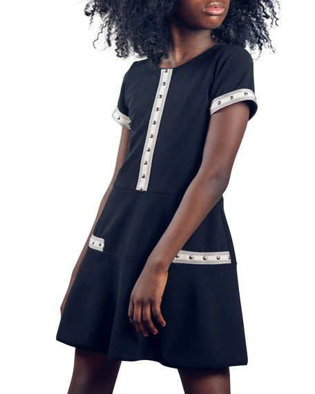 Image 1 of 2: Zoe Girl's Charley Metallic Racer Stripe Flounce Dress, Size 7-16