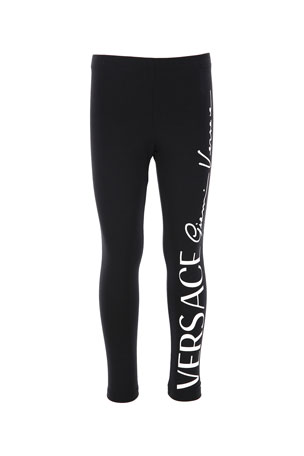 Versace Kids' Jersey Legging with Logo Script Down Leg, Size 4-6