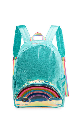 Iscream Girl's Shiny Glitter Rainbow Backpack w/ Floating Stars