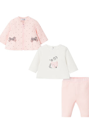 Mayoral Girl's Dotted Bow 3-Piece Layette Set, Size 4-18 Months