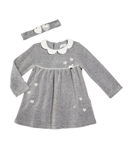 Image 1 of 2: Mayoral Girl's Heart Embroidered Petal Collar Dress w/ Headband, Size 4-18M