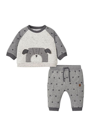 Mayoral Boy's Dog Applique Two-Piece Jogger Set, Size 4-18 Months