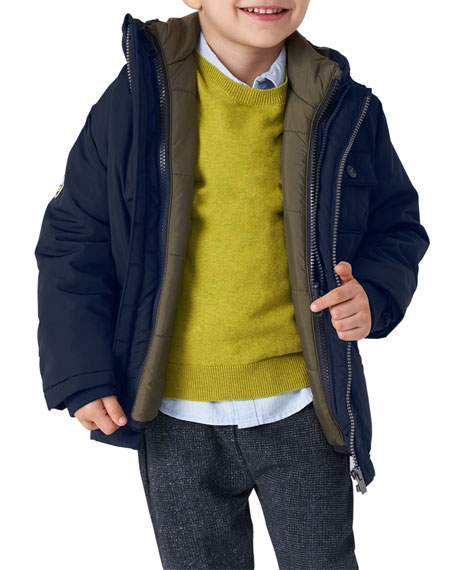 Image 2 of 3: Mayoral Boy's Reversible Jacket and Vest Outfit Set, Size 4-7