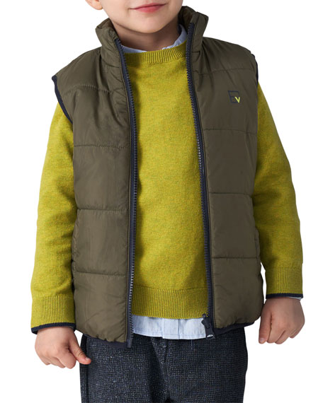 Image 3 of 3: Mayoral Boy's Reversible Jacket and Vest Outfit Set, Size 4-7