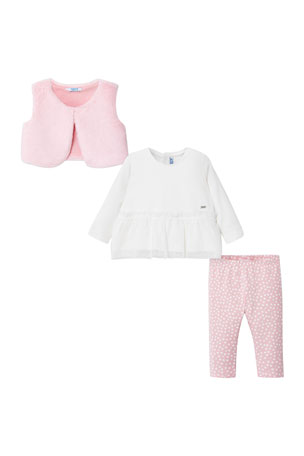 Mayoral Girl's Three-Piece Faux Fur Outfit Set, Size-12-36 Months