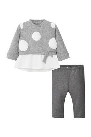 Mayoral Girl's Two-Piece Polka Dot Outfit Set, Size 12-36 Months