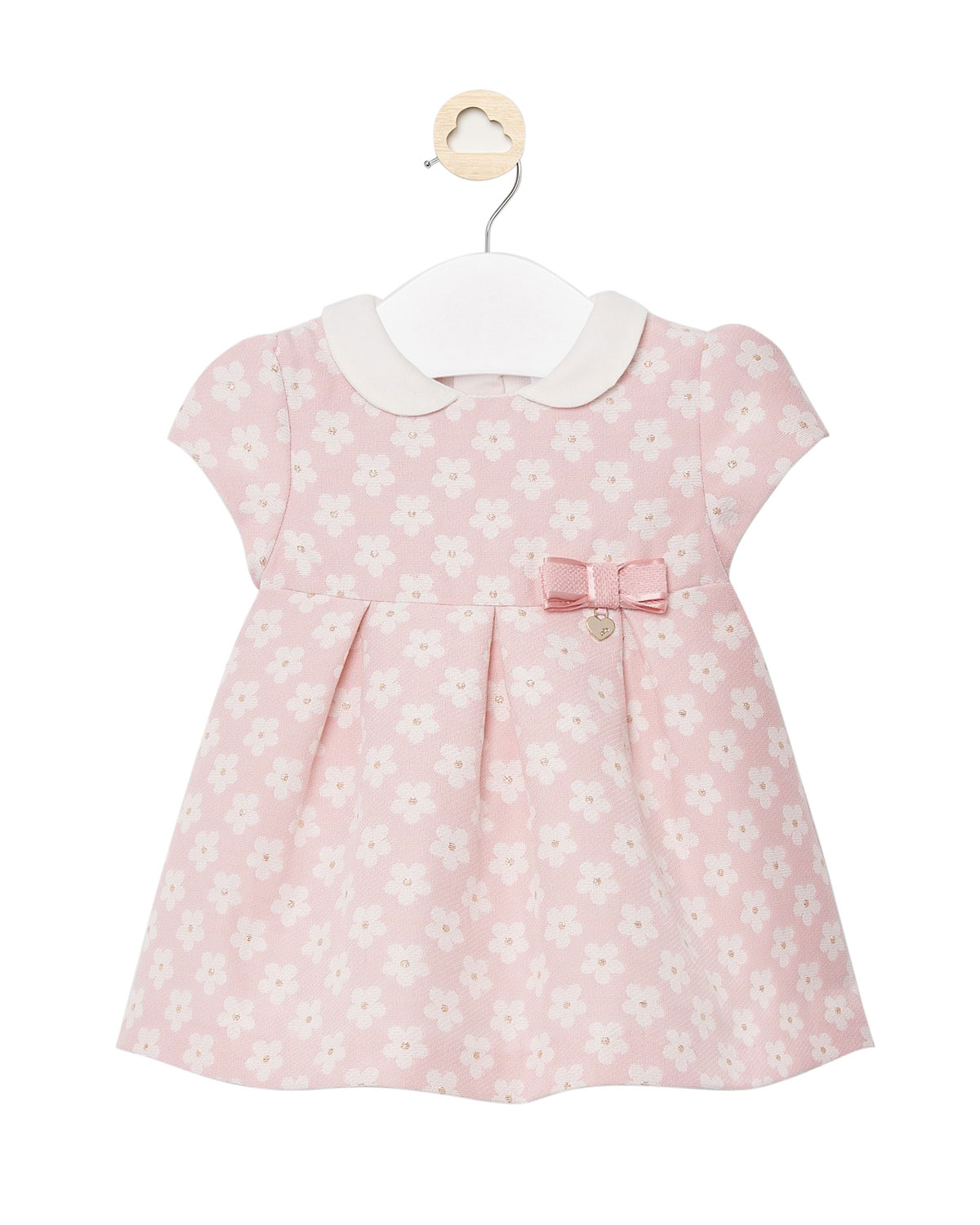 Mayoral Girl's Floral Bow Gathered Dress, Size 4-18 Months
