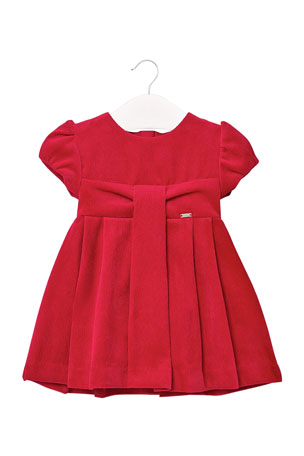 Mayoral Girl's Ribbed Velour Pleated Dress, Size 6-36 Months