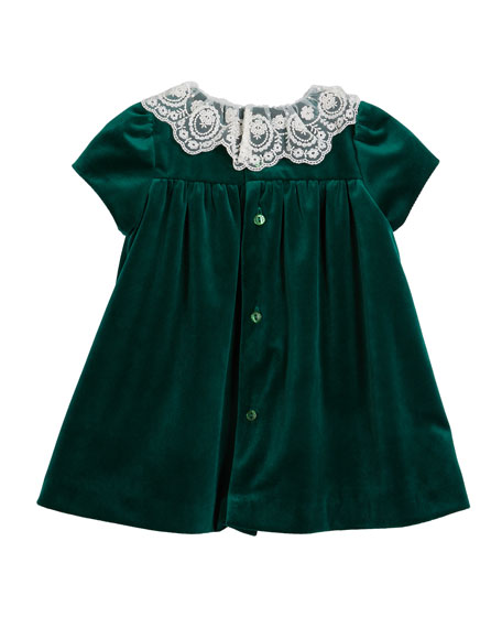 Image 2 of 2: Luli & Me Girl's Lace Collar Velvet Dress w/ Matching Bloomers, Set 2-4T