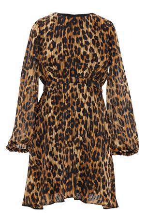 Milly Minis Girl's Elma Asymmetrical Cheetah-Print Dress, Size 7-16