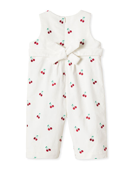 Image 2 of 2: Classic Prep Childrenswear Kid's Tabor Cherry Embroidered Overalls, Size 3M-3