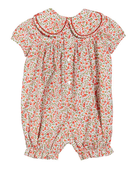 Image 2 of 2: Luli & Me Girl's Cozy Floral Petal-Collar Playsuit, Size 3-12 Months