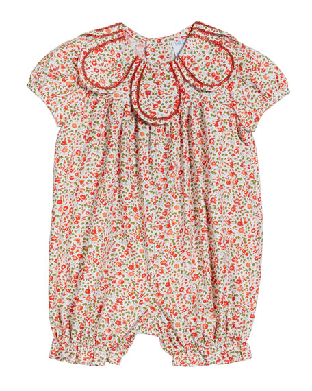 Image 1 of 2: Luli & Me Girl's Cozy Floral Petal-Collar Playsuit, Size 3-12 Months