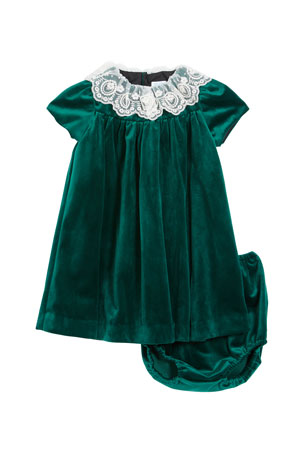Luli & Me Girl's Velvet Lace Collar Dress w/ Matching Bloomers, Size 12-24M