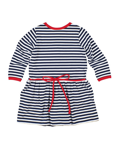 Image 2 of 2: Florence Eiseman Girl's Stripe Knit Flower Dress, Size 2-6X