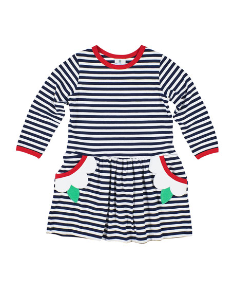 Image 1 of 2: Florence Eiseman Girl's Stripe Knit Flower Dress, Size 2-6X