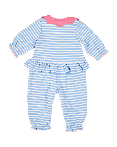 Image 2 of 2: Florence Eiseman Stripe Knit Flower Coverall, Size 3-24 Months