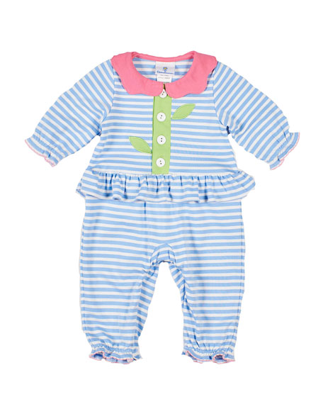 Image 1 of 2: Florence Eiseman Stripe Knit Flower Coverall, Size 3-24 Months