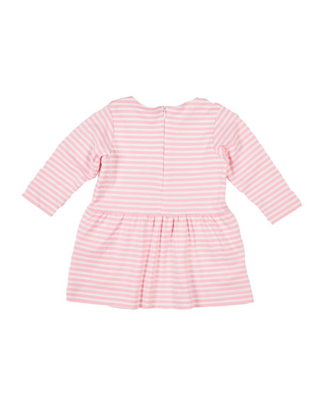 Image 2 of 2: Florence Eiseman Girl's Stripe Knit Dress w/Flowers, Size 2-4T