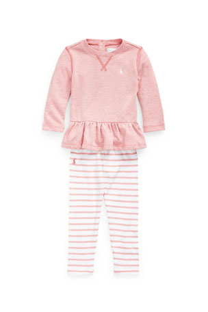Ralph Lauren Childrenswear Girl's Atlantic Terry Shirt & Leggings Set, Size 6-24M