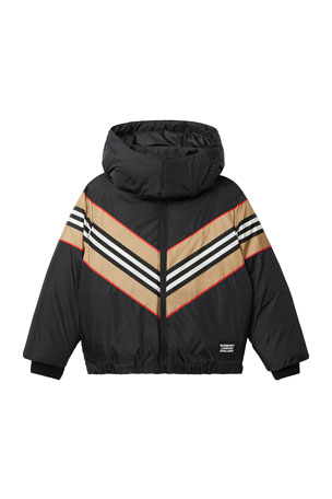 Burberry Boy's Nickson Striped Hooded Jacket, Size 3-14