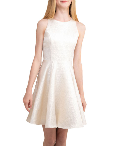 Image 1 of 2: Un Deux Trois Girl's Iridescent Jacquard Racerback Dress, Size 7-16