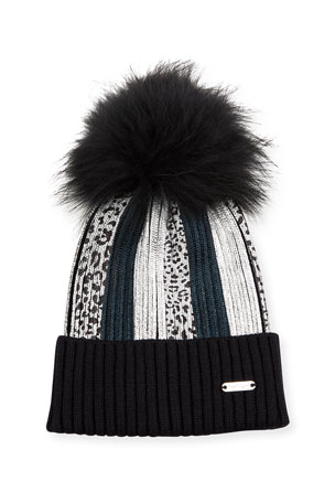 Bari Lynn Girl's Metallic Leopard Striped Beanie w/ Fox Fur Pompom